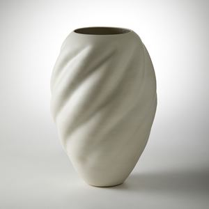 ivory stoneware contemporary shell like sculptural vessel handmade from clay