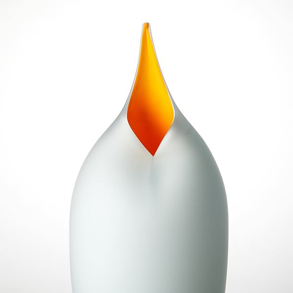 grey and yellow brancusi style bird shaped handblown glass sculpture