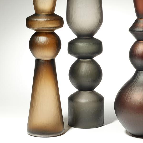 amber grey and brown balustrade shaped tall handblown and cut large sculptural vases