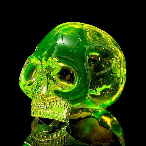 uranium coloured hand sculpted solid glass human skull