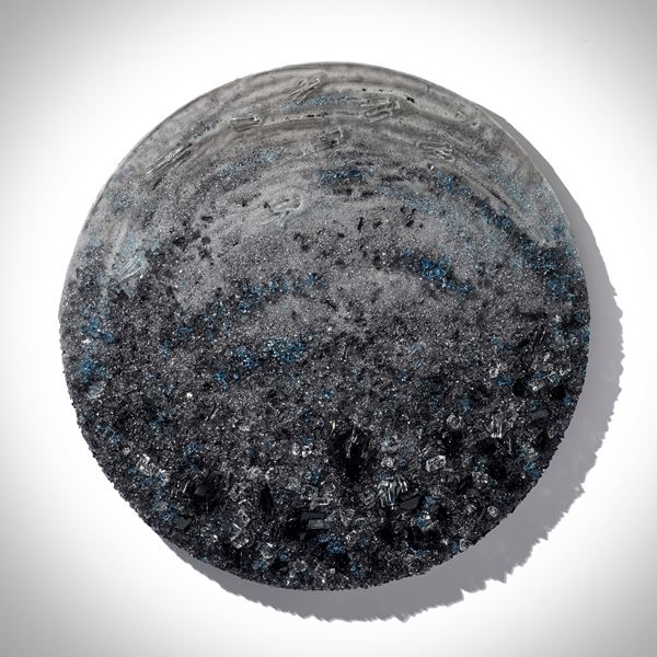 grey and blue crystal adorned wall mounted organically textured artwork on a lacquered backboard