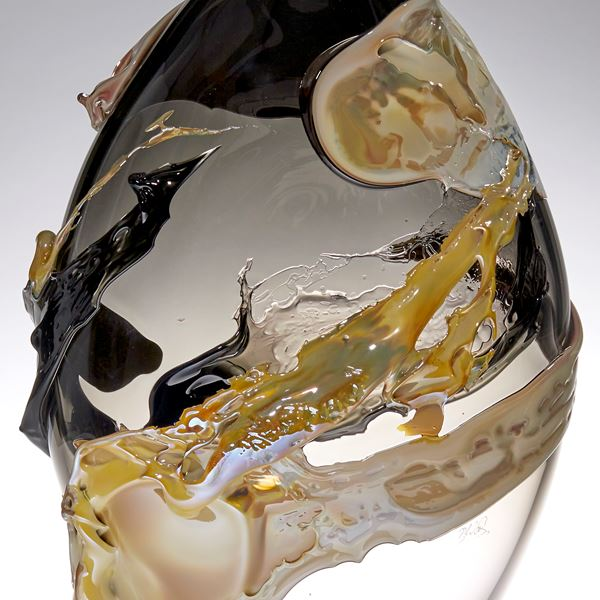 gold bronze and black pointed oval handmade glass vase with organic painted looking decoration