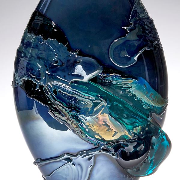 metallic blue and teal green pointed oval handmade glass vase with organic painted looking decoration