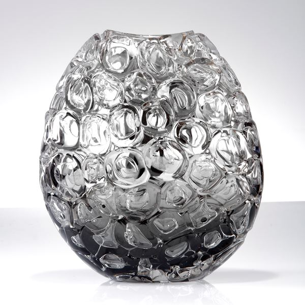 clear silver and grey oval sculptural glass vase covered in large clear bubbles made from handblown glass