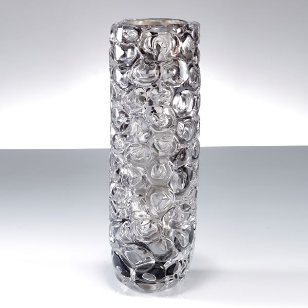 grey and clear cylindrical sculptural glass vase covered in large clear bubbles made from handblown glass with mirrored interior