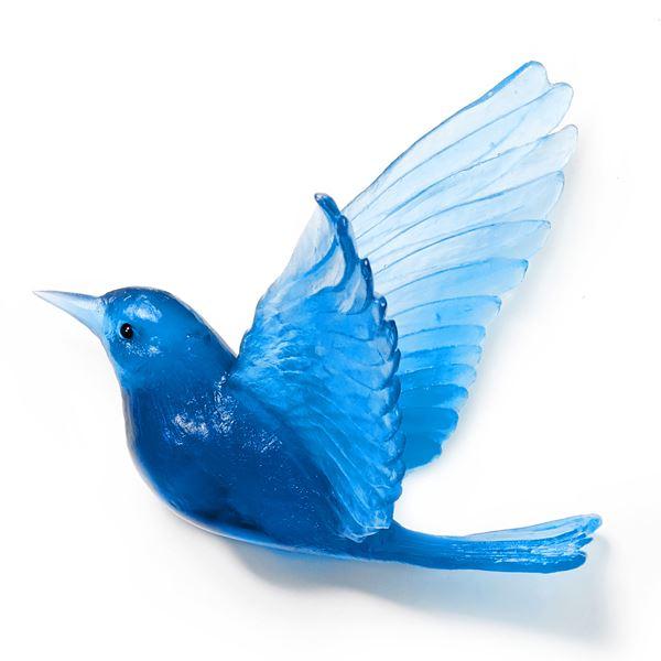 sculpted art glass bird colourful