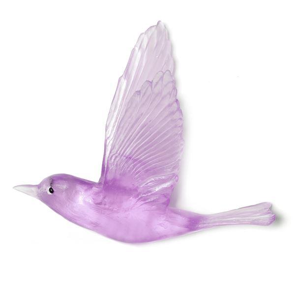 purple cast glass cuckoo wall mounted bird hand crafted