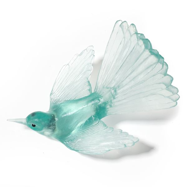 art glass sculpture of fan tail bird in light and dark pinky peach