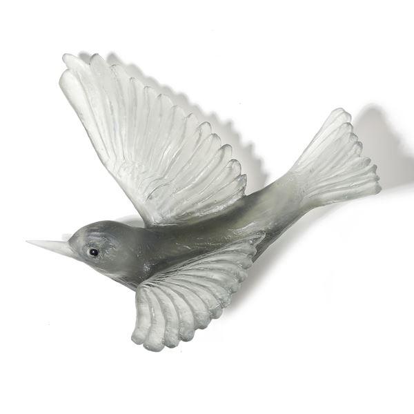 art glass sculpture of silvereye bird in grey