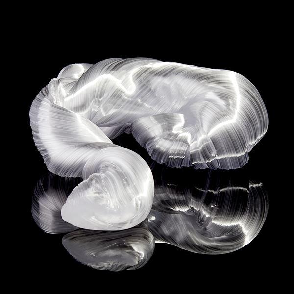 glossy white organic ridged twisting candy like sculpture handmade from glass
