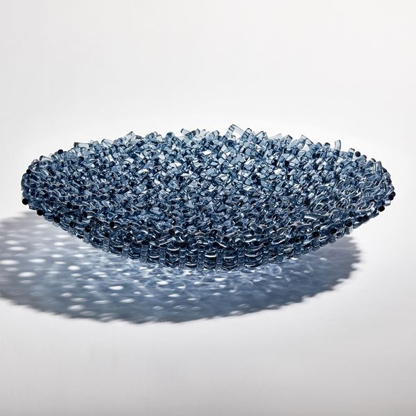 woven looking steel blue centrepiece made by hand from rods of glass