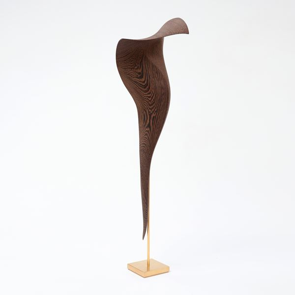 stylised cobra snake wooden handmade sculpture with gold detail and base