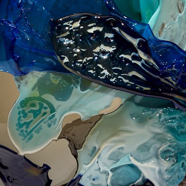Blue turquoise black and smoke handmade sculptural glass vessel with abstract painterly finish