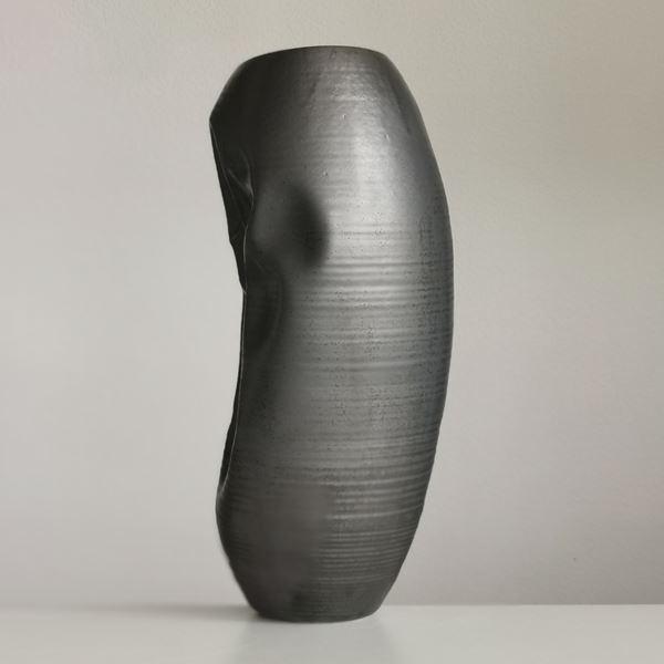 pewter oval tall crinkled vase handmade from glazed ceramic