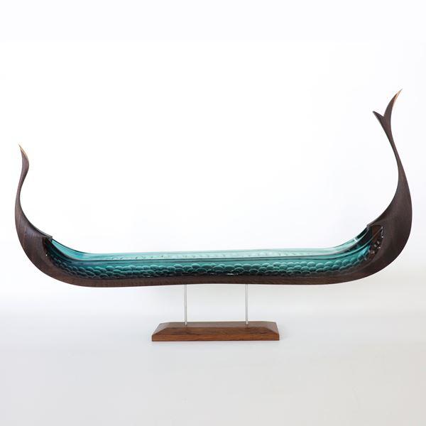 aqua and brown glass and wood handmade viking ship sculpture with textured hullu