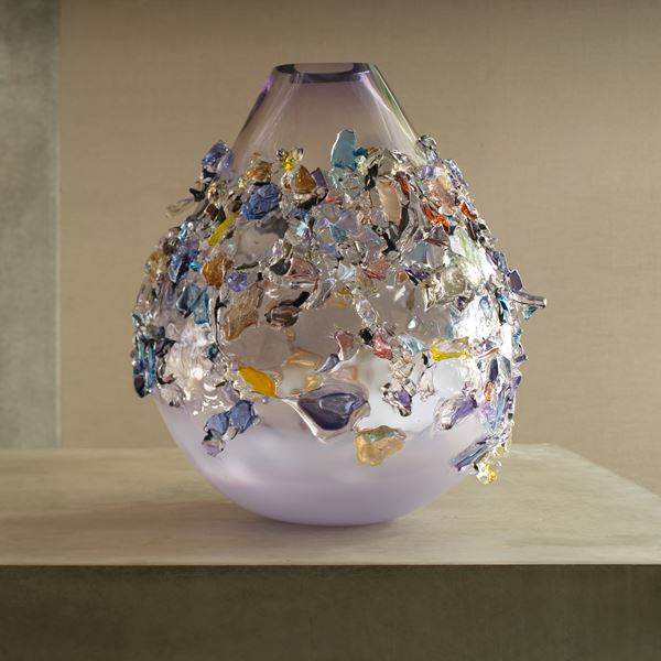 lilac and purple teardrop shaped vase covered in multi-coloured glass shards handmade from glass