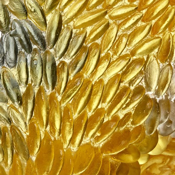 yellow and grey twisted loop formed textural sculpture handmade from cast glass
