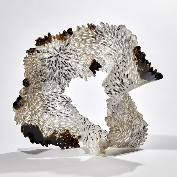 black grey and smoke organic textured coral reef like glass sculpture