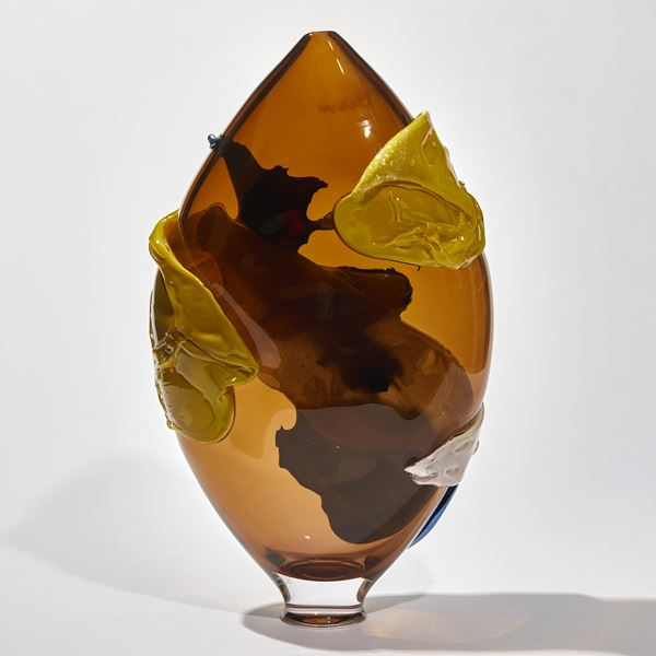 tobacco yellow and blue shiny abstract pointed oval shaped sculptural vessel handmade from glass
