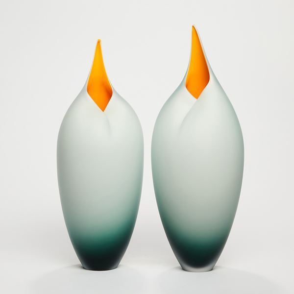 grey and yellow brancusi style bird shaped handblown glass sculpture