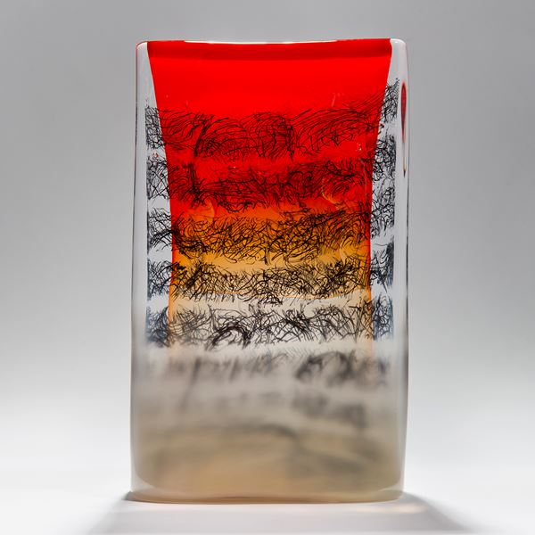 red black clear and taupe rectangular solid glass manuscript tablet sculpture with erratic scribbled black lines