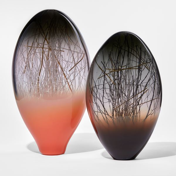 bright orange grey and clear glass standing ovoid sculpture handmade from glass with interior line detail