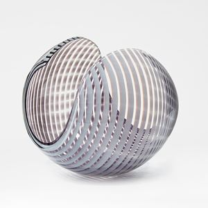white and aubergine striped shiny contemporary rounded art-glass sculpture made from blown and cut glass