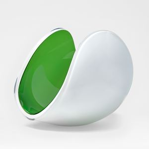 white and apple green glossy contemporary rounded art-glass sculpture made from blown and cut glass