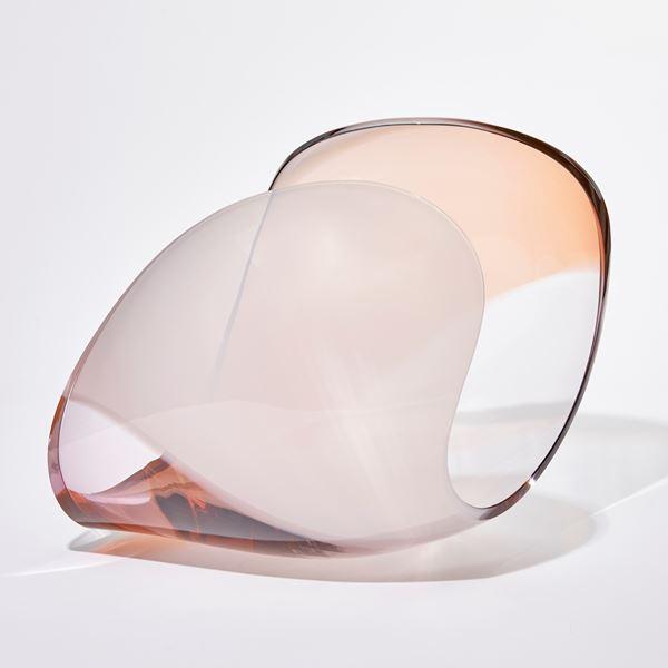 transparent peach and light pink sleek conch shell sculpture handmade from glass