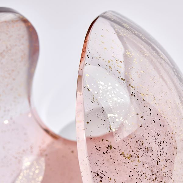 Transparent pink simplified conch shell shaped handcrafted glass sculpture with gold speckles
