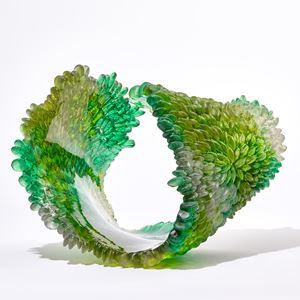 green contemporary textured organic art-glass sculpture made from cast and sculpted glass