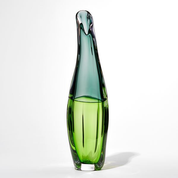 Two tone green tall softy twisted slightly bulbous handblown glass vase