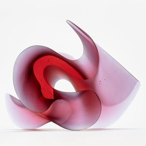 pink big curling and undulating ambiguous sculpture handmade from glass