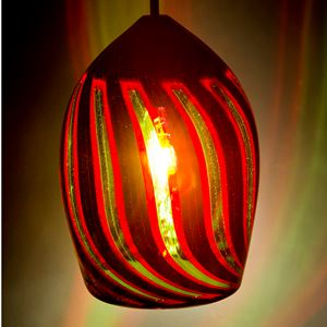 hanging glass lightshade in dark red with slats