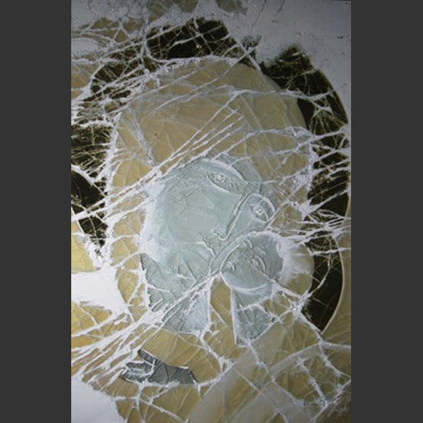 grey yellow and black art glass cancas faintly depicting jesus