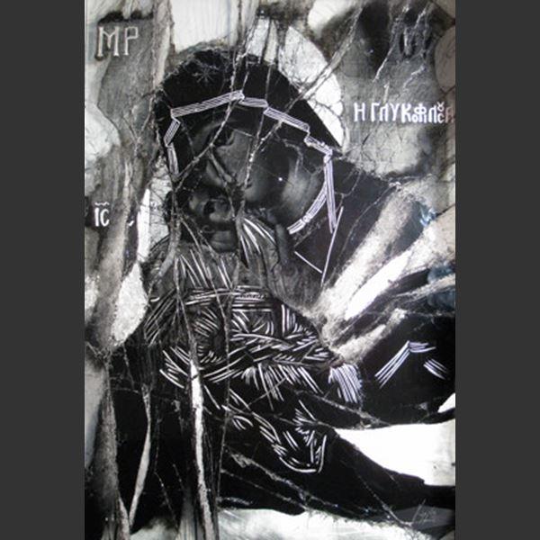 black and white orthodox christian inspired art glass pane