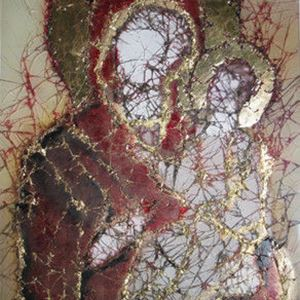 glass art canvas of faceless virgin mary and child in red and gold
