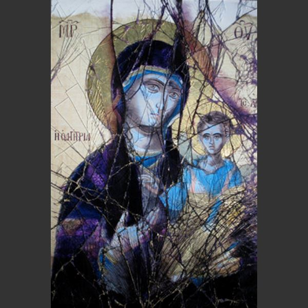 glass art canvas of virgin mary and child in dark purple and beige