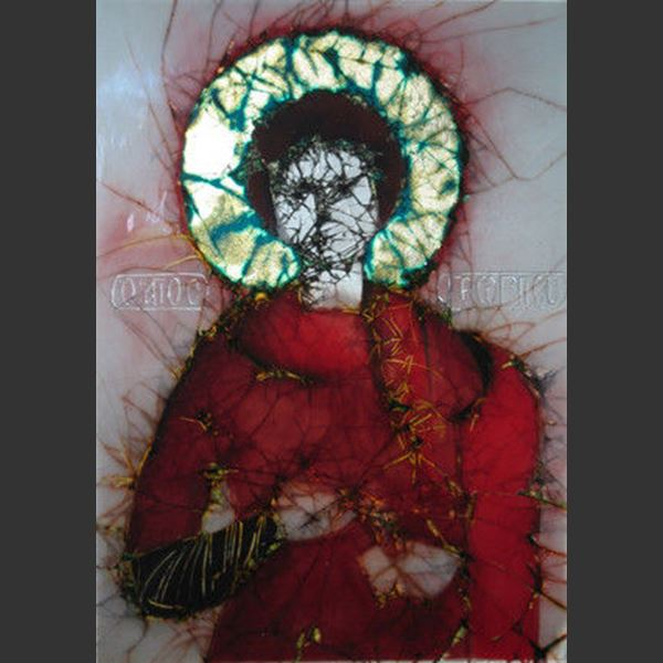 modern glass art stained glass window of st george in orthodox style