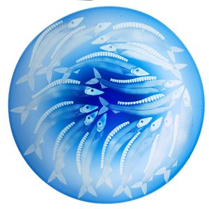 blue glass plate ornament with wihte fish decoration