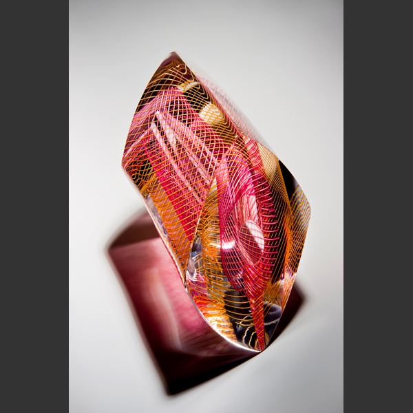 pink yellow and white modern art glass ornament