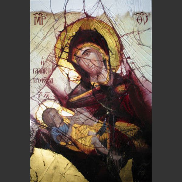 detailed and colourful modern art glass canvas of virgin mary and child in orthodox style