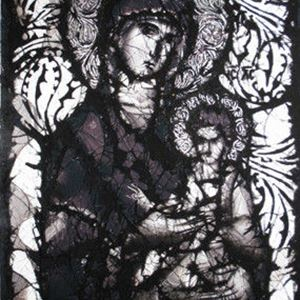 black and white art glass canvas of orthodox christian icons
