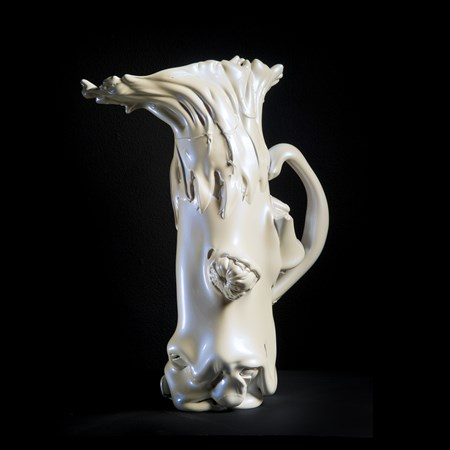 abstract contemporary art glass sculpture of a pitcher in pearly white
