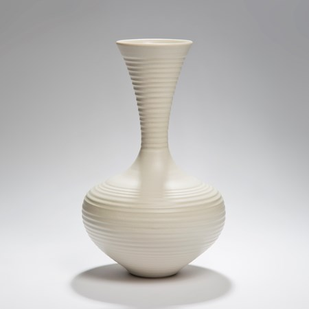 large ridged porcelain vase sculpture in cream