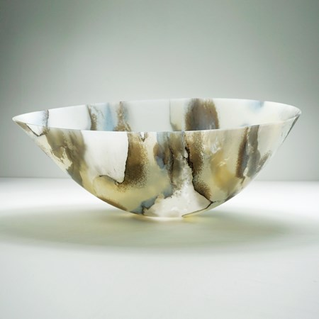 concave art glass bowl in white with grey and blue organic pattern