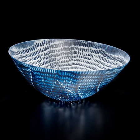kiln formed glass bowl in blue white and black