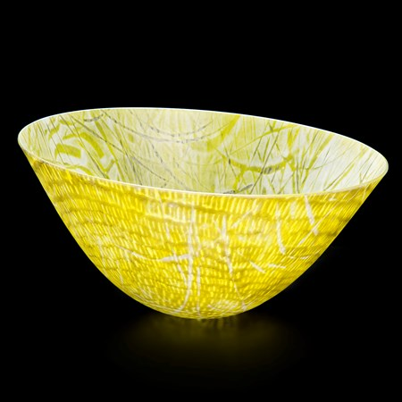 bright yellow kiln formed glass bowl sculpture