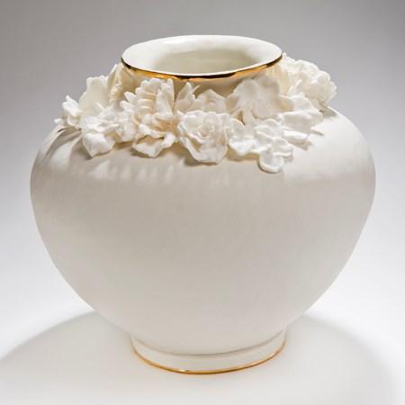 large round porcelain vase with gold lustre and floral decoration