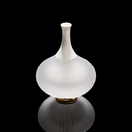 sculpted white vessel with wide glass base and long porcelain neck on gold base